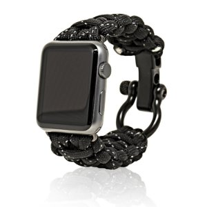Pulseira Apple Watch FIRELINE 42mm Paracord com Rugged Outdoor Survival Stainless Steel Shackle and 550 Paracord