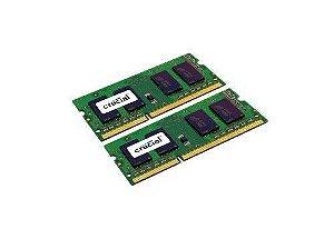 Memória Crucial 8GB Kit (4GBx2) DDR3/DDR3L 1600 MT/s (PC3-12800) CL11 SODIMM 204-Pin 1.35V/1.5V Memory para Mac CT2K4G3S160BM
