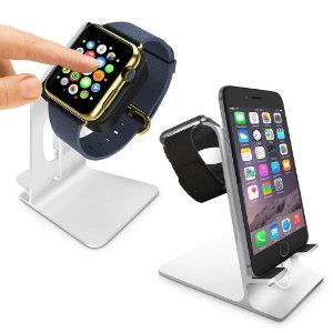 Dock Station Orzly® - DuoStand para Apple Watch & iPhone - Aluminium