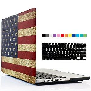 Case iBenzer Soft-Touch Series Case Cover & Keyboard Cover para Macbook Pro 13.3'' com Retina display (Modelos: A1502 / A1425 ) Bandeira EUA