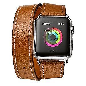 Pulseira Hermes Apple Watch Couro Genuine