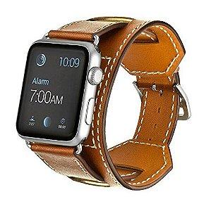 Pulseira Hermes Cuff Apple Watch Couro Genuine