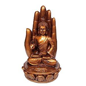 Incensário Mão com Buda Dourado