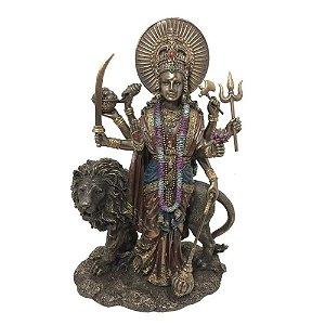 Estatueta Deusa Durga Com Leão
