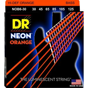 Encordoamento DR STRINGS Neon Laranja (Orange) para Baixo de 6 Cordas .45