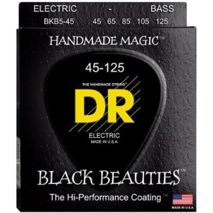 Encordoamento DR STRINGS BLACK BEAUTIES para Baixo de 5 Cordas .45