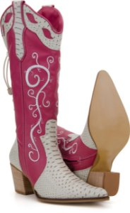 6eab31fe5398f Bota Country Feminina Bordada Pink 4C-3083