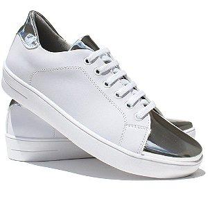 7a424beaa8 Tênis Feminino Metalizado Branco Com Prata