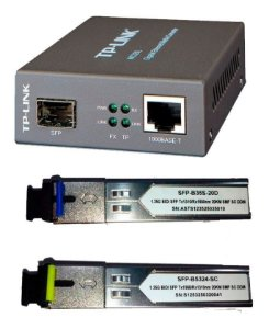 Kit Conversor Fibra Óptica PTP 1 Mc220l + par de Gbic Monomodo 20km Sc 1fo Bidirecional