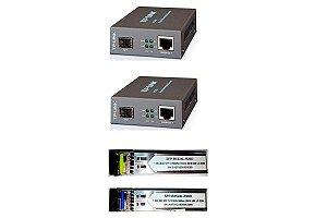 Kit Fibra Óptica PTP 20KM c/ 2 Conversores TP-Link Mc220l + Par de módulos Gbic 20km Monomodo 1 Fo Lc Bidirecional
