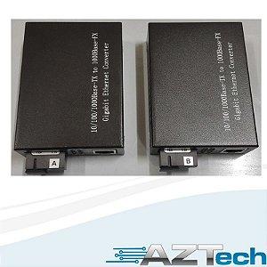 Kit Conversor Uma Fibra Fxo 20km 10/100/1000 Sc H-120s-20