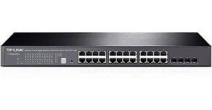 Switch 24 portas Gigabit + 4 portas SFP+ 10G Gerenciável TP-Link T1700g-28TQ