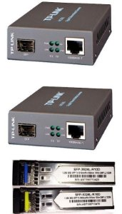Kit Fibra Óptica PTP 2x Conversor TP-Link Mc220l + Par de módulos Gbic 10km Monomodo 1 Fo Lc Bidirecional