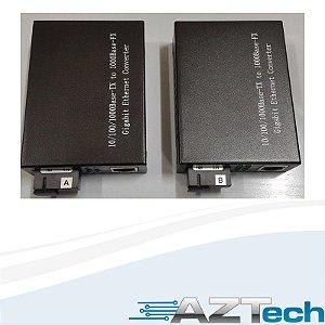 Kit Conversor 1 Fibra Fxo 20km 10/100/1000 Sc H-120s-20 Gigabit
