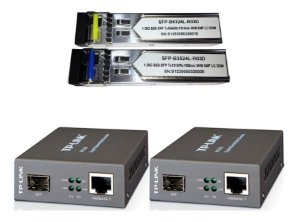 Kit PTP WDM Fibra Óptica 3KM LC 1FO Conversor Tp-Link TL-Mc220l + Par de Gbic 3km Monomodo Gigabit