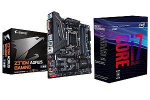 Kit Placa Mãe Gigabyte Z370m-aorus Gaming + Processador I7-8700k