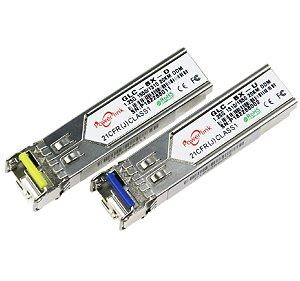 Par de Módulos Gbic Sfp 20km Monomodo Wdm 1FO p/ Cisco/HP/Datacom/Juniper