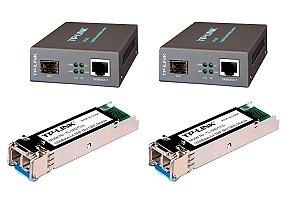 Kit Fibra Ótica Gigabit 1000 Monomodo Lc/upc Conversor Gbic