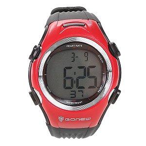 Relógio E Monitor Cardíaco Gonew Preto E Vermelho