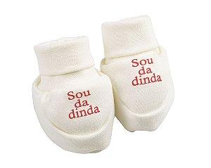 Sapatinho Ribana Recém Nascido na cor Branca - Frases Variadas