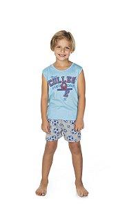 Pijama Machão Meia Malha - Celeste com Mescla