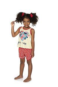 Pijama Menina Regata Meia Malha - Amarelo com Coral