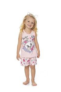 Pijama Menina Regata Meia Malha - Gatinha - Rosa Bebê