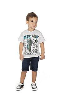 Camiseta Menino Meia Malha Fio 30/1 - Mescla Bebê