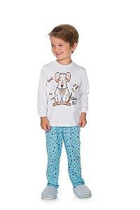 Pijama Menino Meia Malha - Branco com Azul Celeste