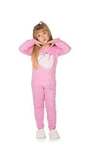 Pijama Menina Meia Malha - Chiclete