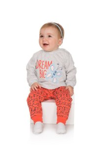 Pijama Menina Meia Malha - Mescla Claro com Coral