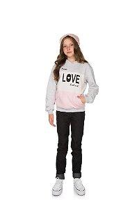 Blusão Menina com Bolso e Touca Moletom - Mescla Claro com Rosa Claro