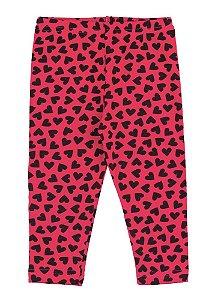 Calça Legging Menina Rotativa Cotton - Estampa Coração