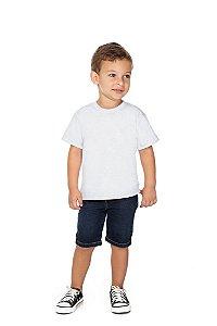 Camiseta Menino Escolar Meia Manga Meia Malha Fio 30/1 - Branco