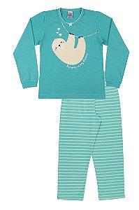 Pijama Menina Meia Malha - Verde Lago