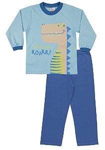 Pijama Menino Meia Malha Modelo que Brilha no Escuro - Azul Celeste com Royal