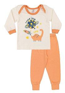 Pijama Menina Meia Malha - Marfim com Salmão