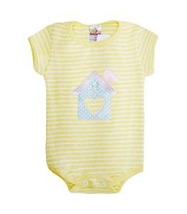 Body Menina Ribana Listrada - Branco com Amarelo Bebê