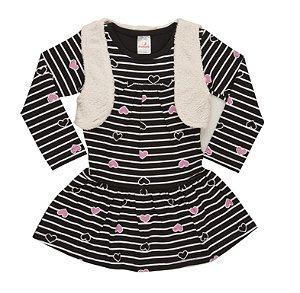 Vestido com Colete Cotton/Pelo - Preto