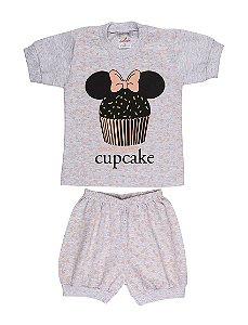 Pijama Menina Meia Manga Meia Malha - Cupcake - Mescla Bebê