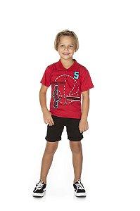 Camiseta Menino Gola Polo Meia Malha 30/1 - Vermelho