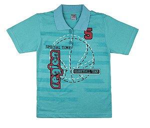 Camiseta Menino Gola Polo Meia Malha 30/1 - Verde Lago