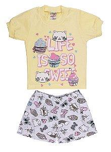 Pijama Meia Manga Meia Malha - Gatinha Cupcake - Amarelo