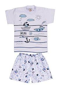 Pijama Menino Meia Manga Meia Malha - Branco