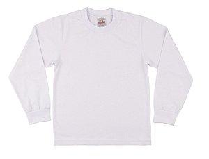 Camiseta Escolar Menino Manga Longa Meia Malha Fio 30/1 - Branco