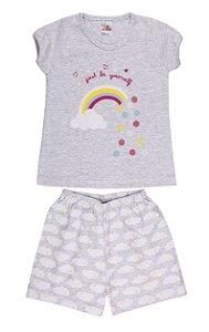 Pijama Menina Meia Manga Meia Malha - Arco-Íris - Mescla Bebê
