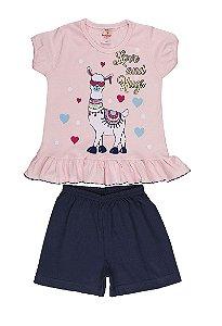Pijama Menina Meia Manga Meia Malha - Rosa Bebê com Marinho