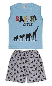 Pijama Machão Meia Malha - Safari - Celeste com Mescla
