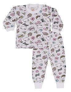 Pijama Menina Meia Malha - Estampa Cupcake