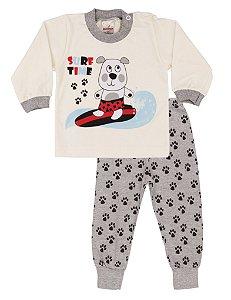 Pijama Menino Meia Malha - Marfim com Mescla
